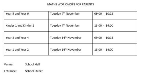 maths workshop parents